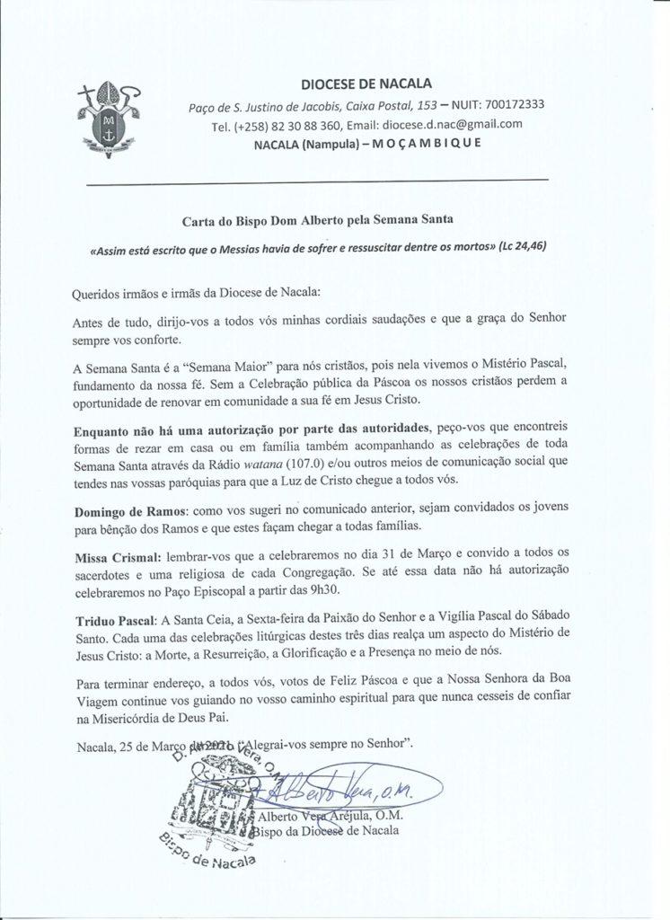Carta do Bispo Dom Alberto pela Semana Santa 2021